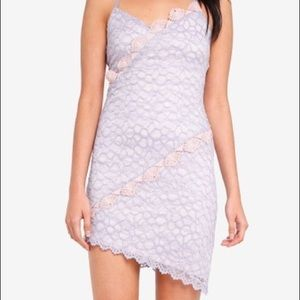 Topshop lilac purple lace trim dress